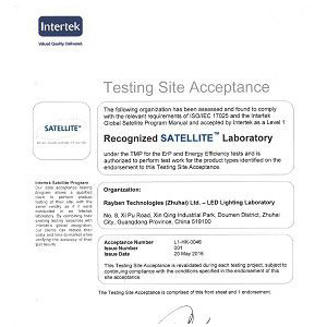 Recognized as Satellite program of Intertek laboratory