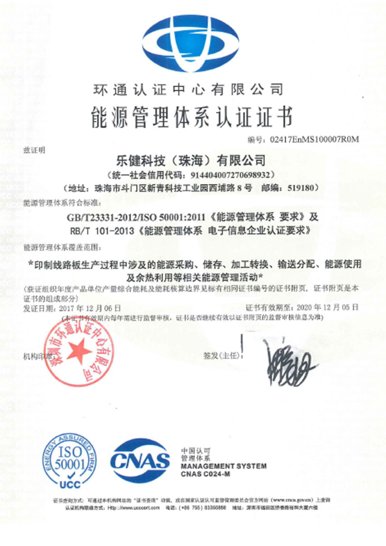 The energy management system certificate